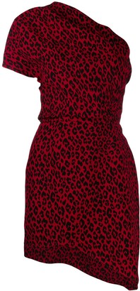 Saint Laurent Leopard One Shoulder Dress