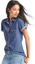 Gap 1969 Denim Short Sleeve Western Shirt
