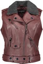 Urban Republic Merlot Faux Fur-Collar Faux Leather Moto Vest