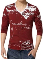 uxcell® Men V Neck Novelty Print Long Sleeves Slim Fit T-Shirt M