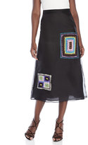 Maurizio Pecoraro Embroidered Patch Silk Skirt