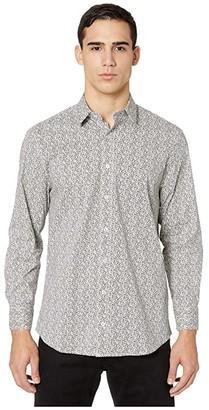 Nick Graham Micro Camo CVC Stretch Dress Shirt (Grey) Men's Clothing