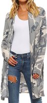 Suvotimo Women Casual Open Front Camouflage Cardigans Outerwear Coats L