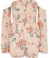 River Island Womens Pink floral print bell sleeve bardot romper
