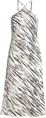 Fame & Partners Alina Zebra-Print Halter Dress