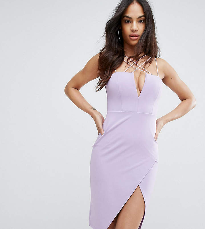 Rare London Plunge Pencil Dress With Strap Detail