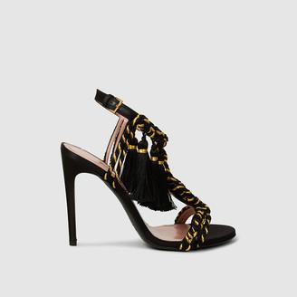 Alberta Ferretti Black Tassel Fringe Metallic Satin Sandals Size IT 36
