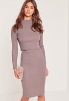 Missguided Knit Midi Skirt Lilac