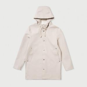 Stutterheim Stockholm Light Sand Unisex Raincoat - XS - White
