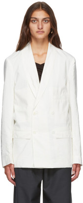 Lemaire White Silk Double-Breasted Belted Blazer