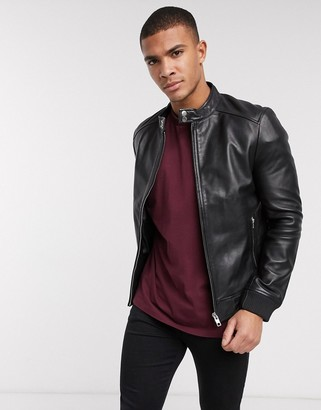 Barneys New York minimal leather racer jacket with silver trims