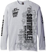 Southpole Men's Big and Tall Long Sleeve Flock and Screen Graphic Tee with Logo, Heather Grey