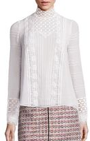Giambattista Valli Macrame Lace Silk Blouse