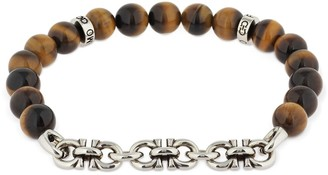 Salvatore Ferragamo 19cm Logo Chain & Tiger Eye Bracelet
