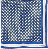 Gucci Men's Geometric-Print Silk Twill Pocket Square