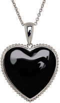 Lord & Taylor Onyx and Sterling Silver Heart Pendant Necklace