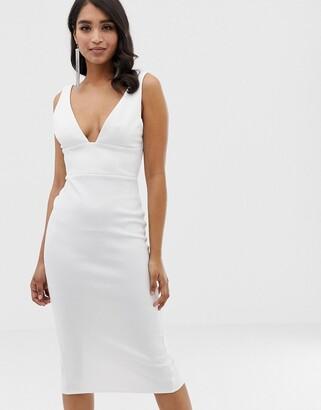 Asos Design DESIGN corset detail midi pencil dress-White