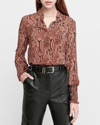 Express Snakeskin Print Smocked Cuff Shirt