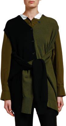 Marni Colorblock Tie-Sleeve Cardigan