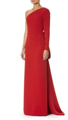 Carolina Herrera One-Shoulder Draped-Back Silk Gown