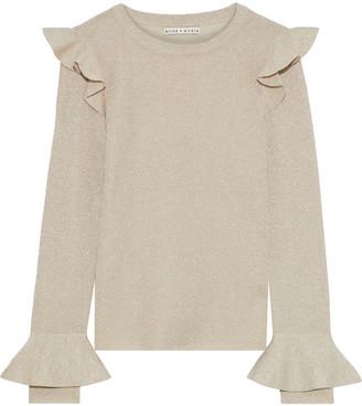 Alice + Olivia Mittie Ruffle-trimmed Metallic Wool-blend Sweater