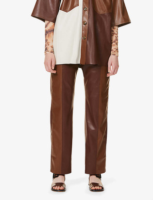 Nanushka Vinni mid-rise faux-leather trousers