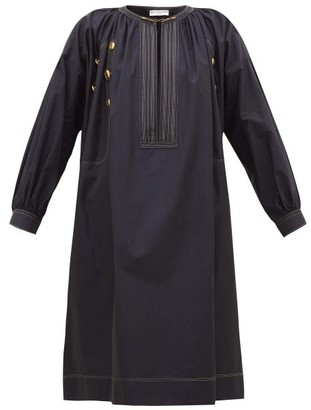 Givenchy Sailor Chain-neck Cotton-poplin Dress - Navy