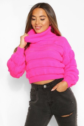 boohoo Petite Bubble Knit Roll Neck Jumper