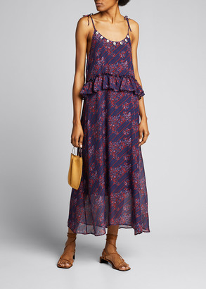 Figue Alina Paisley Print Silk Midi Dress with Puka Shell Trim