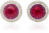 Martin Katz Round Ruby Target Style Earrings