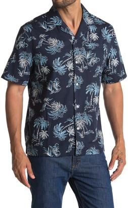 Original Penguin Short Sleeve Palm Tree Print Slim Fit Woven Shirt
