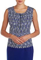 Allison Daley Pleat Neckline Sleeveless Scoop-Neck Knit Top