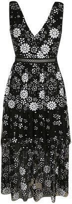 Self-Portrait Self Portrait Starlet Deco Sequin Tiered Midi Dress