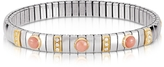 Nomination Golden Stainless Steel Women's Bracelet w/Pink Corals and Cubic Zirconia