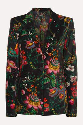 Paco Rabanne Floral-print Cotton-blend Velvet Blazer - Black