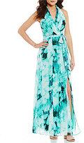 London Times Ikat-Print Faux-Wrap Maxi Dress