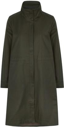 Eileen Fisher Dark Green Coated Cotton-blend Coat