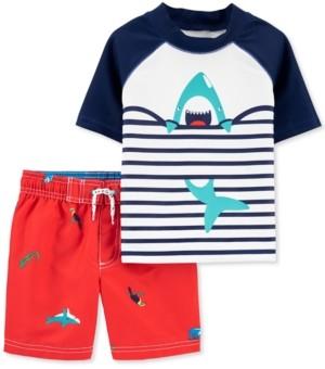 Carter's Baby Boys 2-Pc. Upf 50+ Shark Rash Guard & Board Shorts Set