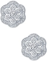 Lafonn Micro Pave Simulated Diamond Flower Stud Earrings
