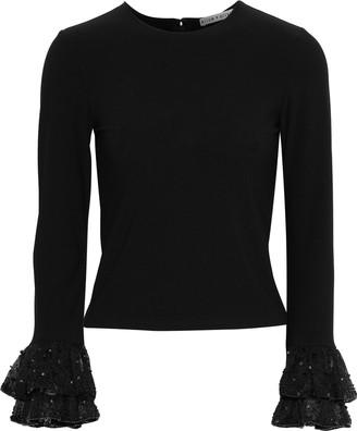 Alice + Olivia Haylen Embellished Organza-trimmed Stretch-knit Top