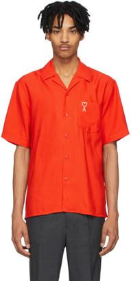 Ami Alexandre Mattiussi Orange Embroidered Ami De Coeur Short Sleeve Shirt