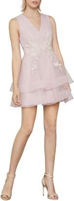 BCBGMAXAZRIA Applique Tulle Mini Dress