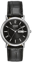 Citizen Eco-Drive Stainless Steel and Leather Black Dial Watch