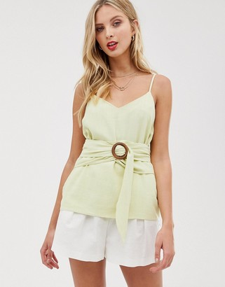 ASOS DESIGN linen cami with wrap around waist and buckle detail