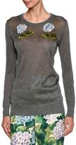 Dolce & Gabbana Embellished Hydrangea Metallic Sweater, Silver