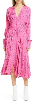 Rotate by Birger Christensen Tracy Print Long Sleeve Midi Dress