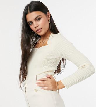 ASOS DESIGN Petite ribbed jumper with open square neck in cream