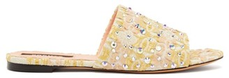 Rochas Crystal-embellished Floral-jacquard Slides - Yellow Multi