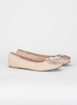 Evans EXTRA WIDE FIT Nude Flower Diamonte Ballerina Pumps