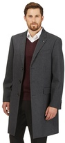 Jeff Banks Big And Tall Black Buttoned Overcoat